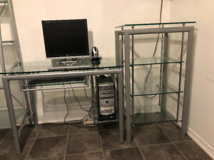 Stylish Glass Desk and Matching Shelves