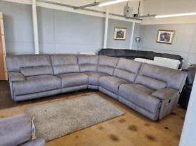 HARVEY'S silver grey powered electric recliner brand new corner sofa