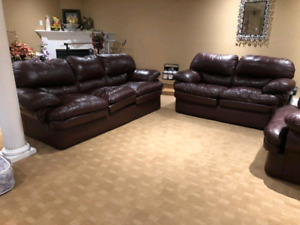 3-Piece Leather Sofa Set with coffee table