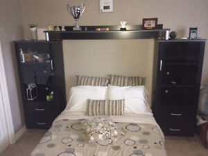 Black Double Bed with Shelving/Dresser/Desk/Chair