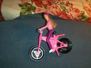 VINTAGE MATTEL BARBIE ON PINK BICYCLE-RARE-1990S-COLLECTIBLE