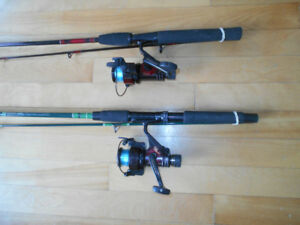 2 Cannes et moulinets a peche Shakespeare, 2 Fishing rods reels