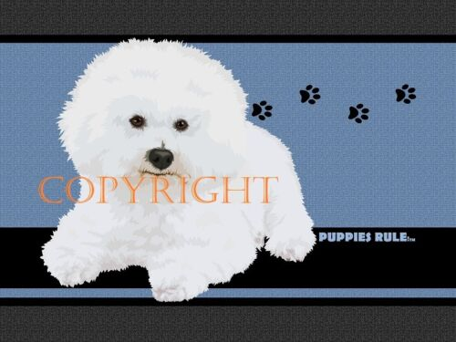 Bichon Frise Dog Puppies Rule Paw Prints House Door Mat Doormat Floor Rug