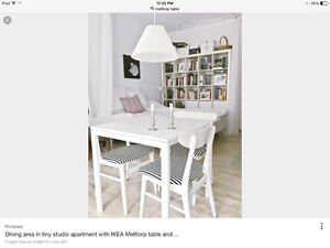 IKEA white kitchen table and chairs