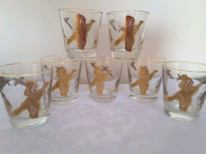 Gold Rimmed Pheasant Bar Glasses