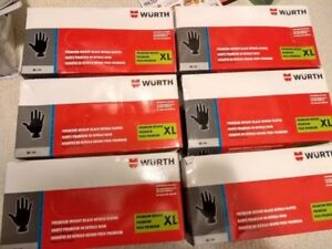 6 boxes of Wurth Black Industrial Nitrile Gloves (XL/100/box)