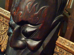 HORNED DEVIL MASK FANGED hand carved wood FABULOUS PIECE vintage Cambridge Kitchener Area image 5