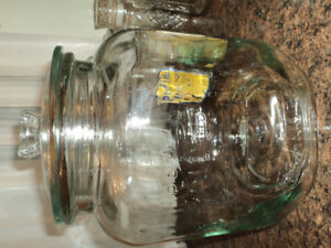 Set of Planter Peanut Glass Containers