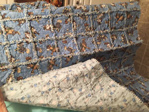 Hand made baby Rag quilt blue