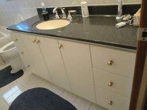 "60"" WHITE VANITY, sink/counter-one piece,, 6 drawers, faucet"