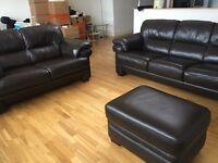 Brown Leather Sofa Set 3+2+puffé
