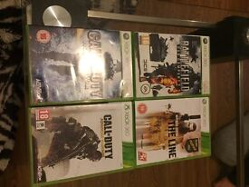 Battlefield bad company 2, COD AW, COD WAW & spec ops the line Xbox 360 games