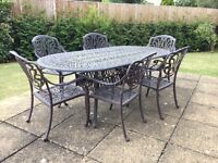 Garden Cast Iron Table and six Chairs