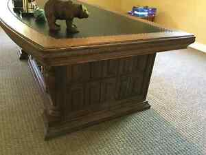 Early 20th Century Solid Oak 72 inch Leather Top Executive Desk Kingston Kingston Area image 3