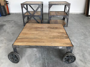 Industrial style coffee table and 2 end tables