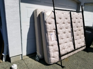 Long Double Mattress, Box Spring and Frame. $75 Dollars. Low Use