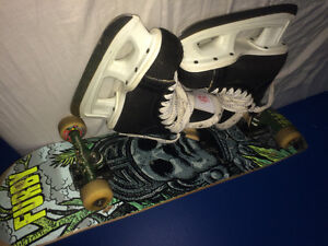 Bauer Skates and Pro Skateboard