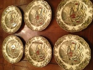 Village Collection Kitchen Decor Vintage Forest Plates Bowls Set