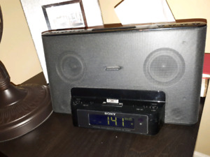 Sony radio clock iPod charger alarm with remote