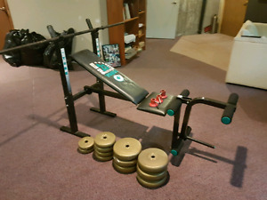 Bench Press Table + weights