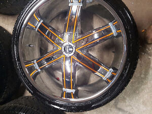 "26"" DUB Rims with low pro tires and tpms"