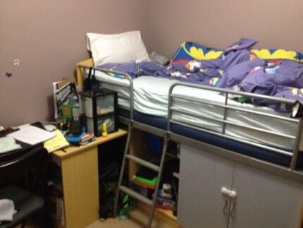 Wooden bunk bed with desk and storage Kings Park Blacktown Area Preview