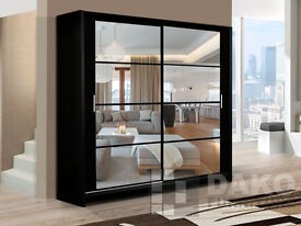 Aston 160cm Mirrored Sliding Wardrobe - Black