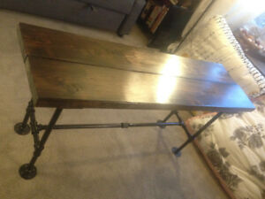 Rustic Industrial Solid Wood Short Console Table