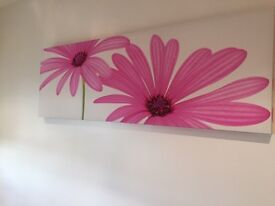 Large flower wall canvas decor