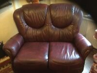 A leather two seater sofa