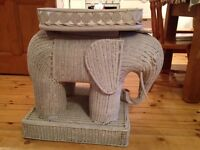 White wicker Elephant Table (with storage)