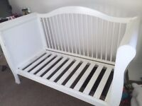 White solid wood sleigh cot bed