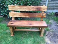 2x hand made hard wood benches