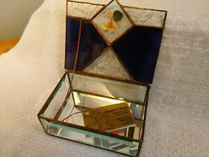 Handmade Stained Glass Jewelry Box - Clear and Amethyst Glass London Ontario image 2