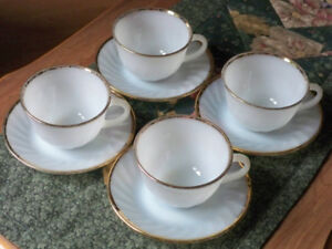 "Gold Trimmed ""Fire King"" Ovenware Cups & Saucers (1950s)"