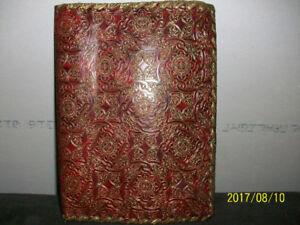 Ancien, liseuse protège-livres de couleur rouge et or, années 50
