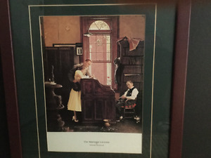 Norman Rockwell framed 'Marriage License'