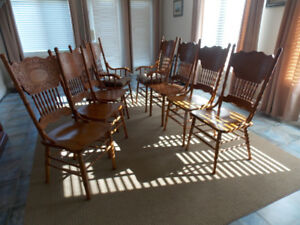DINING ROOM CHAIRS (8) OAK
