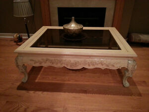 Ivory white, hand carved, solid wood coffee table