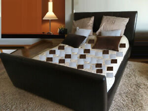 3 Pieces, QUEEN LEATHER Frame + Mattress and Box