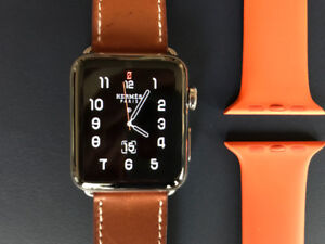 Apple Watch Hermès, 42mm Stainless Steel Case with Fauve Barenia