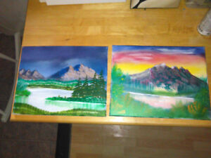 Cats Crafts .- Hand Painted Canvas's . $2/10 , $5 Each.