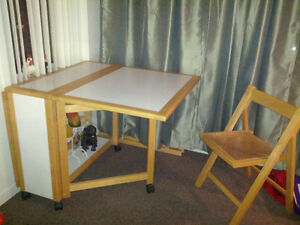 space saving table with 4 wicker chairs
