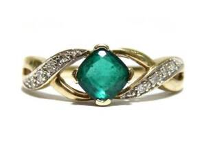 9ct Yellow Gold Ladies Emerald & Diamond Ring Size N½ 1.80g