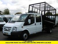 2008 FORD TRANSIT 350 LWB DOUBLE CREW CAB STEEL CAGE TIPPER 1 OWNER FROM NEW TIP