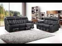 New Black Leather 3 + 2 Reclining Sofas
