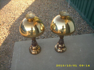 pair of vintage brass wood hurricane lamps stunning
