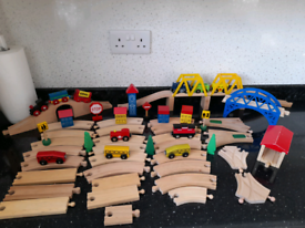 Wooden train track and trains bundle