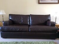 Multi York Brown Leather sofa, chairs and footstool