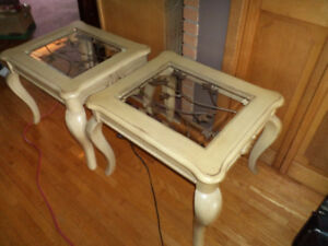 2 Matching French Provincial Tables with Built-in Lights